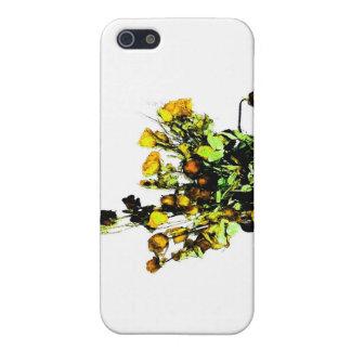 Tema color de rosa secado del amarillo del arreglo iPhone 5 fundas