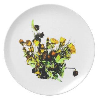 Tema color de rosa secado del amarillo del arreglo plato de cena