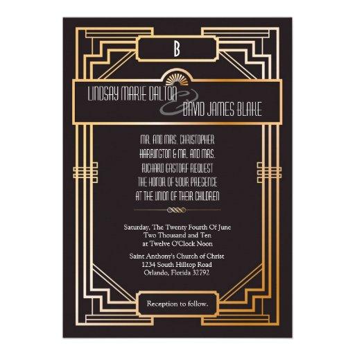 tema de Gatsby de la invitación del boda 5x7