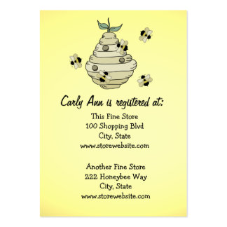 Tema de la abeja de la tarjeta del registro de la tarjetas de visita grandes