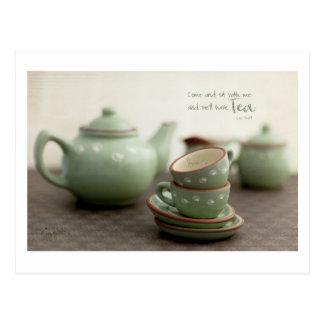Tema de la amistad, amantes del té postales