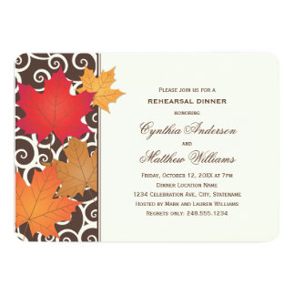 Tema de la caída del otoño de la invitación el | invitación 12,7 x 17,8 cm