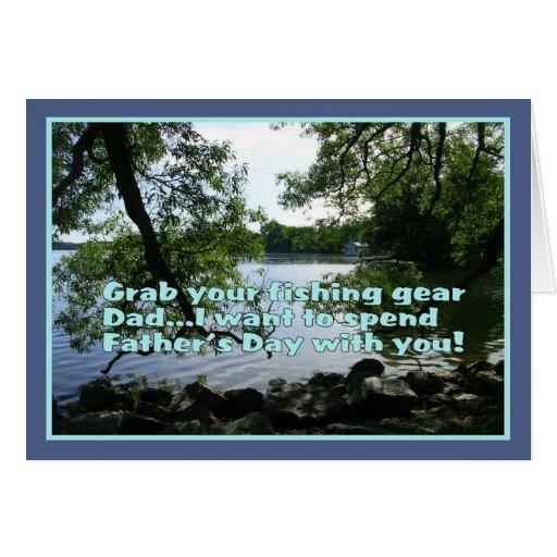 Tema de la Día-Pesca del padre feliz Felicitación