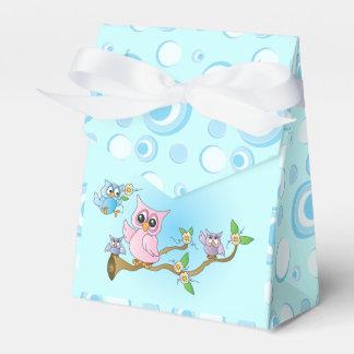 Tema de la ducha del búho el   del bebé azul cajas para detalles de boda