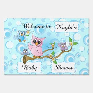 Tema de la ducha del búho el | del bebé azul cartel