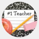 Tema de la escuela del profesor #1 pegatina redonda