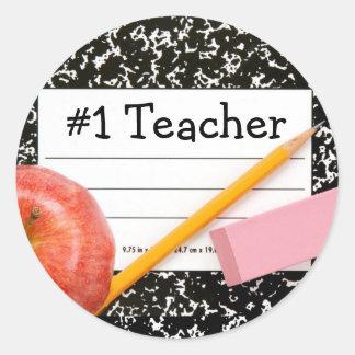 Tema de la escuela del profesor #1 etiquetas redondas
