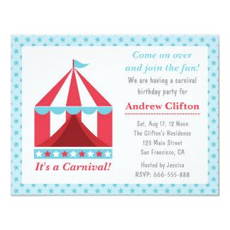 Tema de la fiesta de cumpleaños del carnaval del invitación 10,8 x 13,9 cm