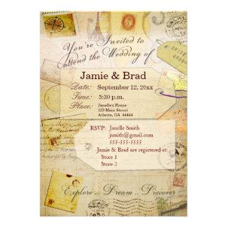 Tema de la invitación del boda del destino en crem