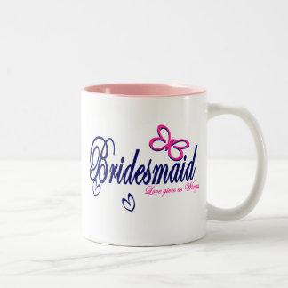 Tema de la mariposa de la dama de honor taza de café de dos colores