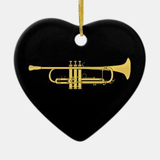 Tema de la música de la trompeta de oro adorno navideño de cerámica en forma de corazón