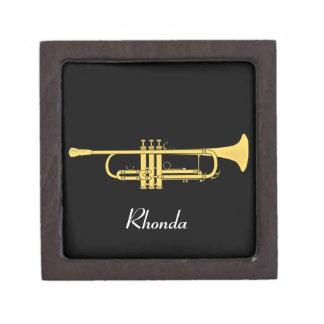 Tema de la música de la trompeta de oro cajas de joyas de calidad