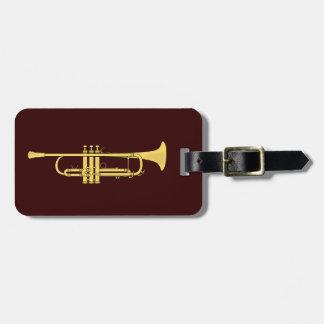 Tema de la música de la trompeta de oro etiquetas para maletas