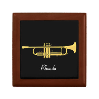 Tema de la música de la trompeta de oro joyero cuadrado pequeño