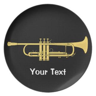 Tema de la música de la trompeta de oro plato para fiesta