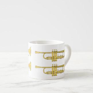 Tema de la música de la trompeta de oro taza espresso