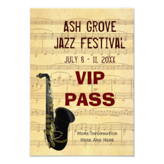 Tema de la música del saxofón del paso del invitación 8,9 x 12,7 cm