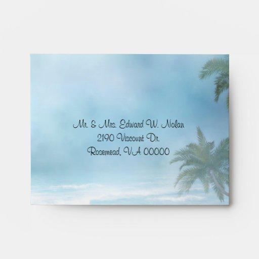 Tema de la playa de la fantasía que casa el sobre