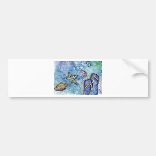Tema de la playa de los flips-flopes de la acuarel pegatina de parachoque