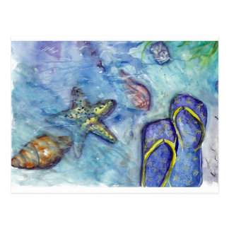 Tema de la playa de los flips-flopes de la postal