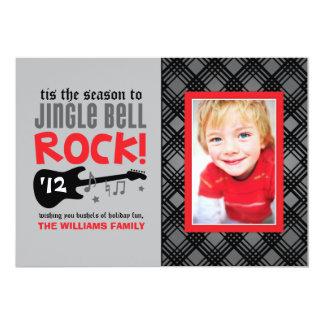 "Tema de la roca de la tarjeta el   Jingle Bell de Invitación 5"" X 7"""