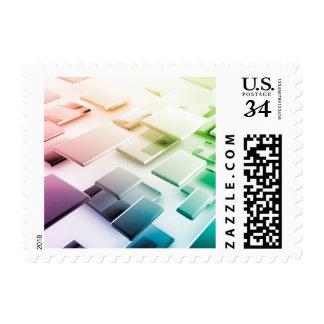 Tema de la tecnología o fondo temático sello postal