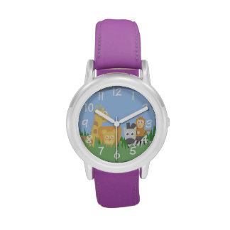 Tema de los animales del safari para el reloj de l