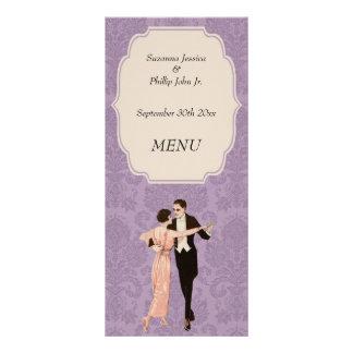 Tema de los años 20 del menú del boda plantilla de lona