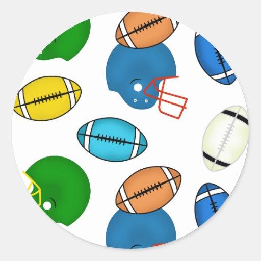 Tema de los fútboles y de los cascos pegatinas redondas