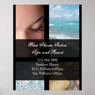 Tema de lujo azul y negro del balneario poster