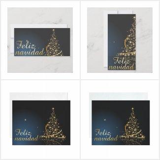 Tema de Navidad azul con dorado árbol de Navidad