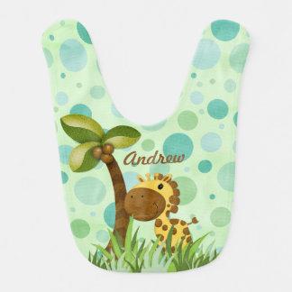 Tema del animal de la jirafa del lunar baberos para bebé