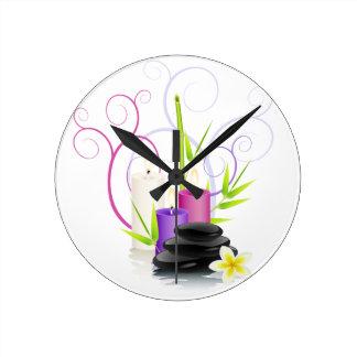 Tema del balneario reloj redondo mediano
