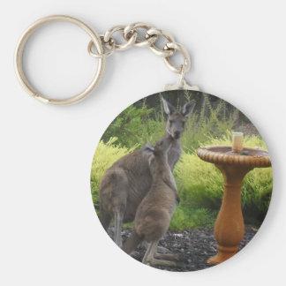 Tema del canguro llavero redondo tipo pin