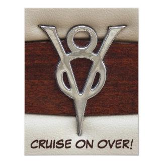 Tema del coche del emblema del cromo de V8 del Invitación 10,8 X 13,9 Cm