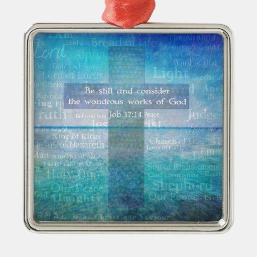 Tema del cristiano del verso de la biblia del adorno navideño cuadrado de metal