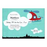 Tema del cumpleaños del helicóptero (azul) invitaciones personalizada