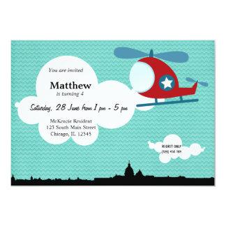 """Tema del cumpleaños del helicóptero (azul) invitación 5"""" x 7"""""""
