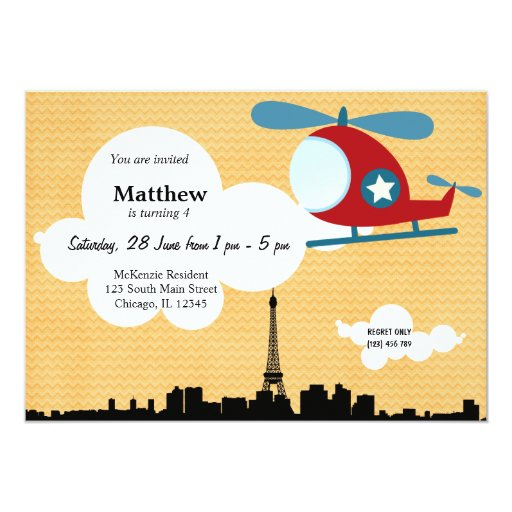 Tema del cumpleaños del helicóptero (naranja) invitación 12,7 x 17,8 cm