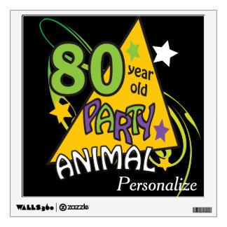 Tema del cumpleaños del juerguista de 80 años 80.o vinilo adhesivo