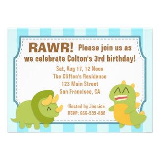 Tema del cumpleaños - dinosaurios lindos comunicado personalizado