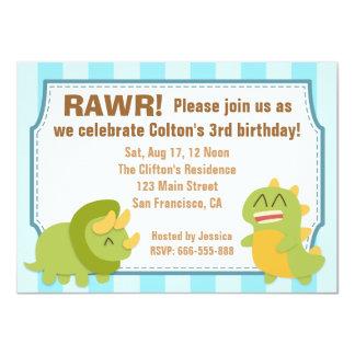 Tema del cumpleaños - dinosaurios lindos invitación 11,4 x 15,8 cm