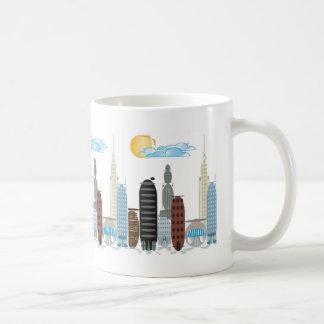 Tema del dibujo animado de la ciudad de la burbuja taza de café