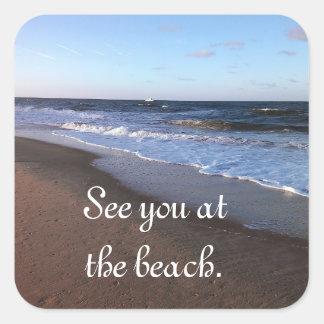 Tema del océano y de la playa pegatina cuadrada