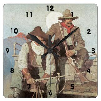 Tema del oeste salvaje el reloj de los vaqueros