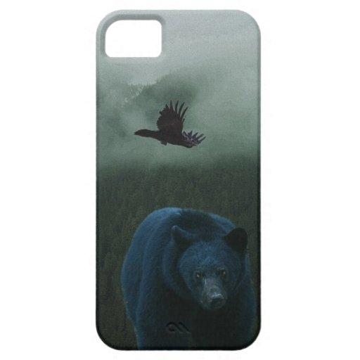 Tema del oso negro y del cuervo y de la fauna de l iPhone 5 Case-Mate cobertura