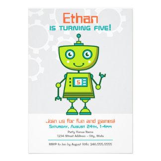 Tema del robot del muchacho de la invitación el
