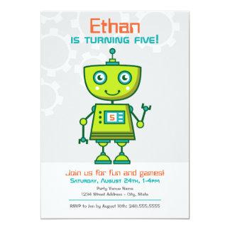Tema del robot del muchacho de la invitación el | invitación 12,7 x 17,8 cm