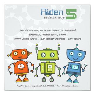 Tema del robot del muchacho de la invitación el | invitación 13,3 cm x 13,3cm