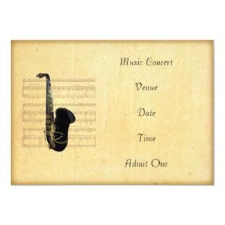 """Tema del saxofón del boleto de la admisión del invitación 5"""" x 7"""""""